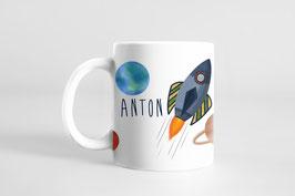Tasse - Kinderbecher mit Namen personalisiert - Weltraum