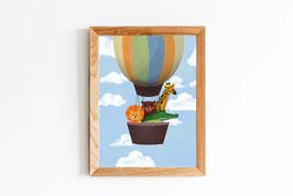 Poster - Tiere im Heißluftballon - Löwe, Bär, Giraffe, Krokodil