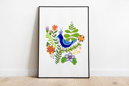 Poster - Illustration Blauer Vogel Blumen