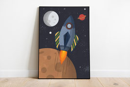Poster - Rakete Weltraum