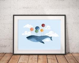 Poster - Fliegender Wal mit Luftballons