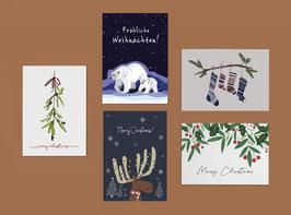 Postkarten Set - Weihnachtskarten- Christmas - Eisbären - Weihnachtssocken - Weihnachtsmann - Elch
