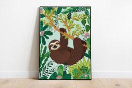 Poster - Faultier im Dschungel