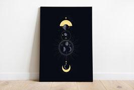 Kunstdruck - Poster - Mond - Mondphasen - Mondzyklus - Universum - Sterne
