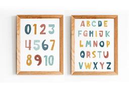 Posterset- Illustration Zahlen - 1-10 - Kinderzimmer - ABC Poster