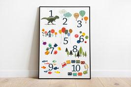 Poster -  Zahlen von 1 - 10 - Tiere - Ballons - Drachen - Bälle