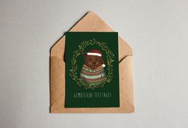 Weihnachtskarte - Weihnachtsbär - Gemütliche Festtage!