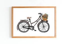 Poster - Fahrrad mit Blumen - Blumenkorb