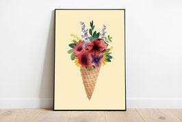 Poster - Eiswaffel mit Blumen - Sommer