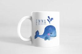 Tasse - Kinderbecher mit Namen personalisiert - Wal