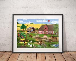 Poster - Bauernhof - Wimmelbild