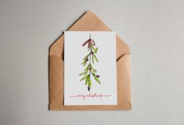 Weihnachtskarte - Mistelzweig - Merry Christmas