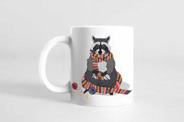 Tasse - Strickender Waschbär