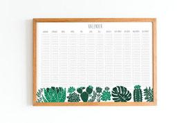 Kalender - Immerwährend - Kaktus - Sukkulenten