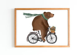 Poster - Bär auf Fahrrad - Lebensfreude