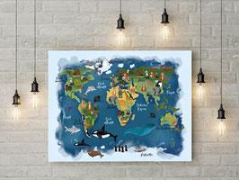 Poster - Weltkarte - Tiere rund um die Welt - aquarelle