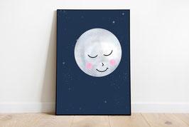 Poster - Vollmond - Mond mit Gesicht