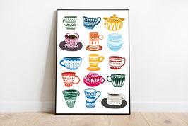 Poster - bunte Tassen - Küchenposter