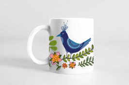 Tasse - Vogel mit Blumen