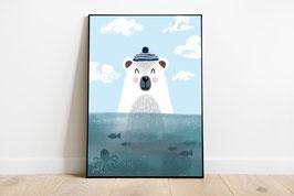 Poster - Eisbär- Matrose auf See