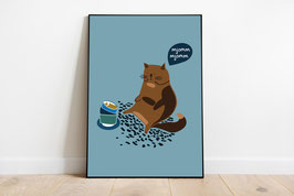 """Poster - Hungrige Katze """"Yummy"""" - Catlover"""