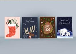 Postkarten Set - Weihnachtskarten- Christmas - Eisbär -Weihnachtsschuh - Frohes Fest - Elch