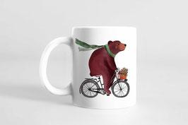 Tasse -Bär auf Fahrrad