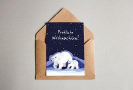Weihnachtskarte - Fröhliche Weihnachten - Eisbär