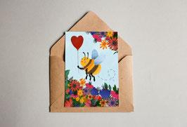 Postkarte - Geburtstagskarte - Biene mit Herz
