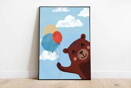 Poster - Bär mit Luftballons - Happy