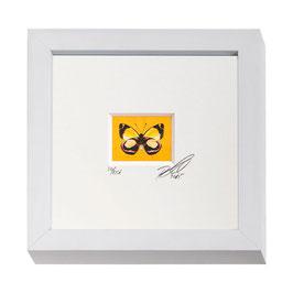 """AD-0030 - Kunstdruck """"Schmetterling"""" im Naturholzrahmen """"weiss"""" 15 x 15 cm"""