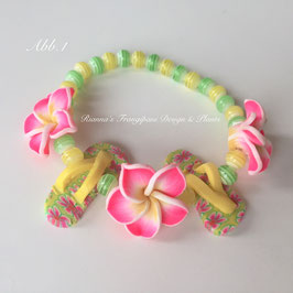 Frangipani Armband mit Flip Flops