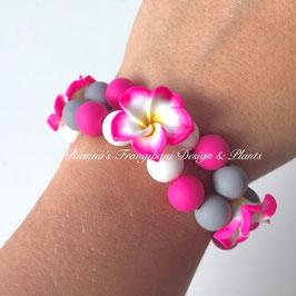 Frangipani Armband Pink / Grau