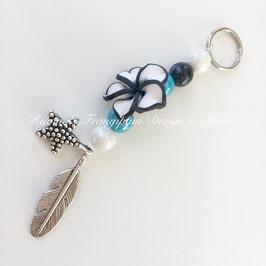 Schlüsselanhänger schwarz/weiss/türkis