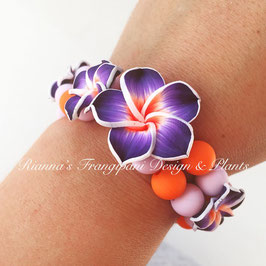 Frangipani Armband Violett / Orange