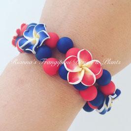 Frangipani Armband Blau / Rot