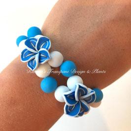 Frangipani Armband Blau / Weiss