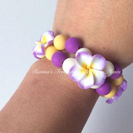 Frangipani Armband Lila / Gelb