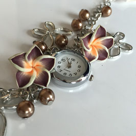 Frangipani Armband mit Uhr