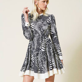 ABITO IN CREPE A STAMPA ANIMALIER TWINSET