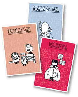 """Postkarten 3er-Set """"Krakaoke"""", """"Schafari"""" und """"Wampir"""""""