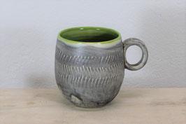 große Tasse apfelgrün, silbergrau