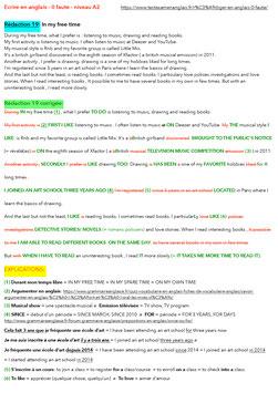 ZERO FAUTE EN ANGLAIS - ANGLAIS NIVEAU A2 ELEMENTAIRE -- 19 REDACTIONS CORRIGEES ET ANNOTEES