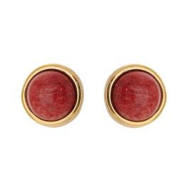 Magnetohrring mit Natursteinen Amazonit Rot