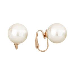 Damen Ohrclip mit Perlen Durchmesser 1,4 cm