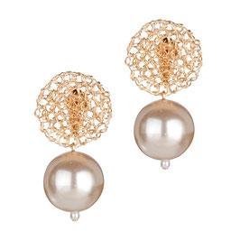 Luxus Ohrclip Mit Perlen 18K Vergoldet