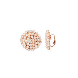 Ohrclips gehäkelt aus goldüberzogenem Metalldraht und Perlen