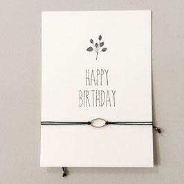 "Karte ""Happy Birthday"" mit Armband oval"
