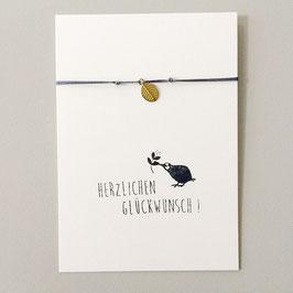 """Karte """"Herzlichen Glückwunsch"""" mit Blatt-Armband"""