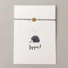 "Karte ""Jippie"" mit Boho-Armband"